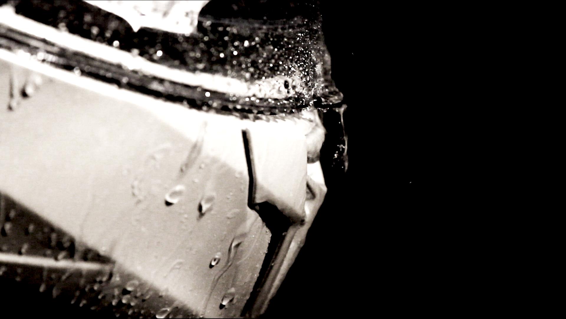 Motorbike helmet under heavy rain
