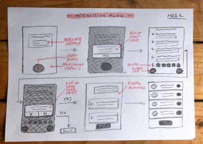 MESC app interaction flow low-fi wireframes