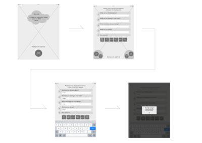 App MESC interaction flow wireframes