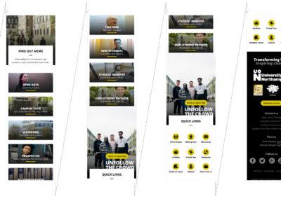 University of Northampton website web page