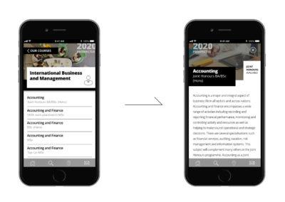 University of Northampton prospectus app screens