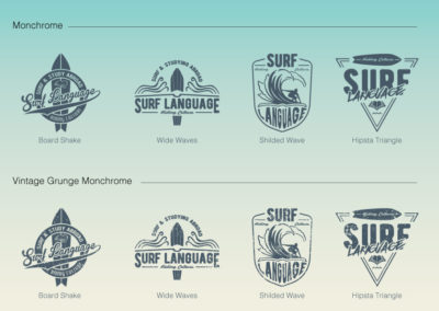 four different logos ideas displayed in line