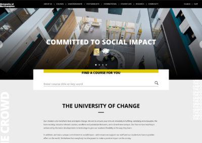 University of Northampton website page