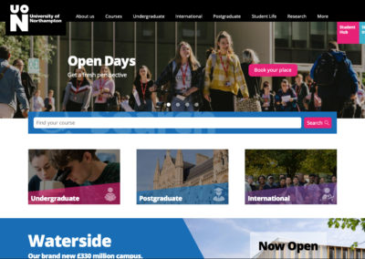 University of Northampton old website page