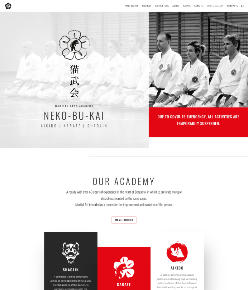 Nekobukai martial arts home page sxcreenshot